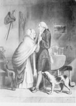 Book plate print depicting George Washington with his mother